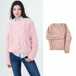 ♠️Blush Pink Chunky Cable Knit Chenille Sweater XS